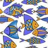 Ψάρια κινούμενων σχεδίων της Νίκαιας καθορισμένα άνευ ραφής διάνυσμα προτύπων Στοκ Εικόνα