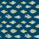 Ψάρια κινούμενων σχεδίων της Νίκαιας καθορισμένα άνευ ραφής διάνυσμα προτύπων Στοκ εικόνα με δικαίωμα ελεύθερης χρήσης
