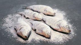 Ψάρια κυπρίνων στα καρυκεύματα και αλεύρι σε έναν μαύρο πίνακα απόθεμα βίντεο