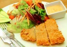 Ψάρια μπριζόλας με τη σαλάτα Στοκ Εικόνα
