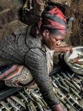 Ψάρια ξήρανσης γυναικών Στοκ Εικόνα
