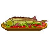 ψάρια οξυρρύγχων που ψήνονται με τα λαχανικά σε μια πιατέλα Στοκ Εικόνες