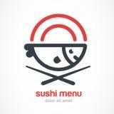 Ψάρια, πιάτο, chopsticks απεικόνιση γραμμών Ιαπωνική κουζίνα vect διανυσματική απεικόνιση