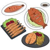 ψάρια που τηγανίζονται Στοκ Εικόνα