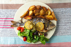 Ψάρια, σαλάτα και πατάτα Στοκ φωτογραφίες με δικαίωμα ελεύθερης χρήσης