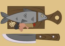 Ψάρια σε έναν τέμνοντα πίνακα Στοκ Εικόνες