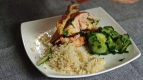 Ψάρια σολομών καρύκευσης και μαγειρέματος με το ρύζι και το αγγούρι απόθεμα βίντεο