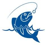 Ψάρια στο γάντζο νερού και αλιείας Στοκ Φωτογραφία