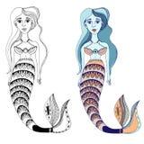, ψάρια, σχέδιο, γοργόνα απεικόνιση αποθεμάτων