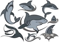 Ψάρια Σύνολο καρχαριών Διανυσματικό σχέδιο με τα κύματα ελεύθερη απεικόνιση δικαιώματος