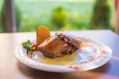 Ψάρια τόνου με την πράσινες σαλάτα και τις ντομάτες Στοκ Εικόνα