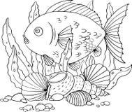 Ψάρια, φύκι και κοχύλια διανυσματική απεικόνιση
