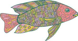 Ψάρια Doodle zentangle Χρωματίζοντας σελίδα τέχνης της Zen για τους ενηλίκους Στοκ Εικόνες