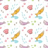 Ψάρια Kawaii και άνευ ραφής σχέδιο κοχυλιών θάλασσας απεικόνιση αποθεμάτων