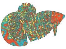 Ψάρια Zentangle doodle - ζωηρόχρωμη έκδοση του χρωματισμού της σελίδας Στοκ φωτογραφίες με δικαίωμα ελεύθερης χρήσης