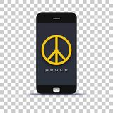 Ψάχνοντας την εφαρμογή ειρήνης το κινητό τηλέφωνο που κολλιέται για σε χαρτί φωτογραφιών στοκ φωτογραφίες