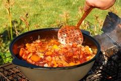 Ψήνοντας κρέας για το μαγείρεμα pilaf στο φυτικό έλαιο στο πικ-νίκ στοκ εικόνα