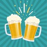 ψήνοντας ποτήρια της μπύρας ελεύθερη απεικόνιση δικαιώματος