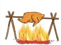 Ψήνοντας σχέδιο σχαρών κοτόπουλου διανυσματική απεικόνιση