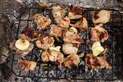 Ψήσιμο κρέατος χοιρινού κρέατος στη σχάρα Κρέας στους άνθρακες, σχάρα στοκ εικόνες με δικαίωμα ελεύθερης χρήσης