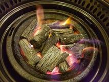 Ψήσιμο ξυλάνθρακα σε μια πυρκαγιά στοκ εικόνες