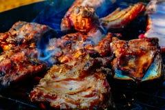 Ψήσιμο στη σχάρα του χοιρινού κρέατος Στοκ εικόνες με δικαίωμα ελεύθερης χρήσης