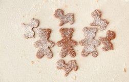 Ψήστε τα μπισκότα μελοψωμάτων Χριστουγέννων, που μαγειρεύουν στην κουζίνα Στοκ εικόνα με δικαίωμα ελεύθερης χρήσης