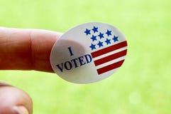 Ψήφισα την αυτοκόλλητη ετικέττα στοκ εικόνες