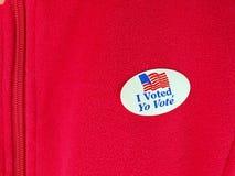 Ψήφισα την αυτοκόλλητη ετικέττα Στοκ Φωτογραφίες