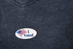 Ψήφισα την αυτοκόλλητη ετικέττα Στοκ φωτογραφία με δικαίωμα ελεύθερης χρήσης