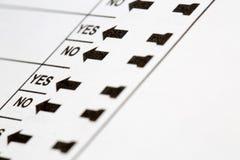 Ψήφος ψηφοφορίας ναι και καμία επιλογή Στοκ Φωτογραφία