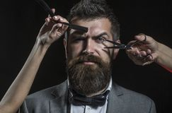 Ψαλίδι κουρέων και ευθύ ξυράφι, barbershop Κούρεμα ατόμων, ξύρισμα Γενειοφόρο άτομο, μακριά γενειάδα, βάναυσος, καυκάσια στοκ εικόνα