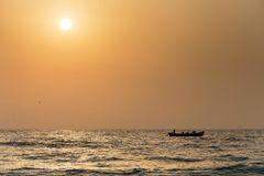 Ψαράδες στη θάλασσα Στοκ Φωτογραφία