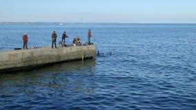 Ψαράδες στον ακατέργαστο καλοκαιριού θάλασσας 4K επεξεργασμένο απόθεμα βίντεο