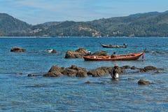 ψαράδες Ταϊλανδός ψαριών σύλληψης Στοκ Εικόνα
