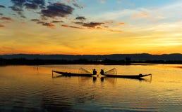 Ψαράδες Inle στο ηλιοβασίλεμα, το Μιανμάρ Στοκ φωτογραφίες με δικαίωμα ελεύθερης χρήσης