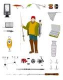 Ψαράς και επίπεδο σύνολο εικονιδίων εξοπλισμών αλιείας Στοκ Φωτογραφία
