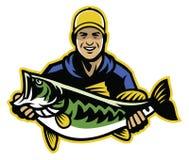 Ψαράς και μεγάλη σύλληψη των largemouth βαθιών ψαριών διανυσματική απεικόνιση