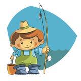 Ψαράς κινούμενων σχεδίων διανυσματική απεικόνιση