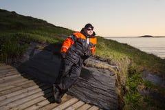 ψαράς παραλιών βράδυ ενδύματα βρώμικα Στοκ Εικόνα