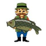 Ψαράς που φέρνει τα μεγάλα ψάρια Στοκ Εικόνες