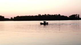 Ψαράς σκιαγραφιών στη βάρκα που πιάνει τα ψάρια στον ποταμό στο ηλιοβασίλεμα βραδιού υποβάθρου φιλμ μικρού μήκους