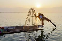Ψαράς στη λίμνη Inle, Shan, το Μιανμάρ Στοκ εικόνες με δικαίωμα ελεύθερης χρήσης