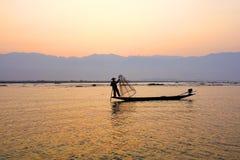 Ψαράς στη λίμνη Inle, Shane, το Μιανμάρ Στοκ φωτογραφία με δικαίωμα ελεύθερης χρήσης