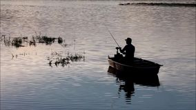 Ψαράς στη λίμνη Lipno απόθεμα βίντεο