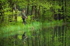 Ψαράς στη δράση στοκ εικόνες