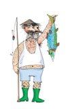 ψαράς ψαριών τριχωτός ελεύθερη απεικόνιση δικαιώματος