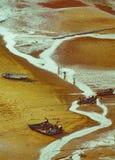 Ψαράδες θαλασσίως κάτω από το setsun Στοκ Εικόνες