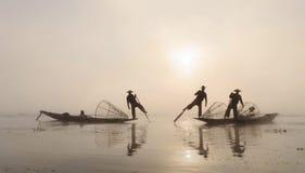 Ψαράδες, το Μιανμάρ Στοκ Εικόνα