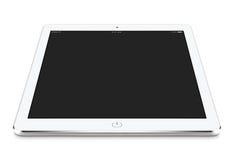 Ψαρευμένη μπροστινή άποψη του άσπρου PC ταμπλετών με το κενό λι προτύπων οθόνης Στοκ Εικόνες
